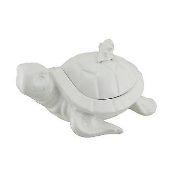 Białe porcelanowe rzeźbione danie cukierki pudełko cacko żółw morski