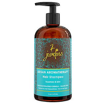 7 Jardins Premium Argan naturlige aromaterapi Shampoo - 16 oz - bedste fugtgivende, Volumizing & nærende Shampoo til beskadiget & tørt hår med terapeutiske æteriske olier for mænd & kvinder
