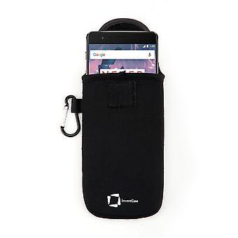 ベルクロの閉鎖と OnePlus 3 t - 黒のアルミ製カラビナと InventCase ネオプレン耐衝撃保護ポーチ ケース カバー バッグ