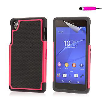Shock proof case cover for Sony Xperia Z3 including stylus - Hot Pink