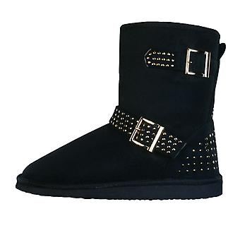 Centro Ronzo Womens Faux Fur Warm Winter Ankle Boots - Black