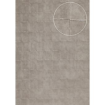 Stone tiles wallpaper Atlas IN the-5080-3 structure wallpaper embossed with geometric shapes and metallic effect silver Platinum Grey 7,035 m2