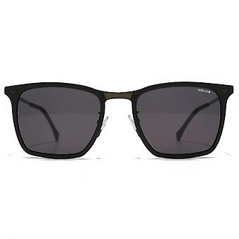 Police Textured Square Sunglasses In Semi Matte Black