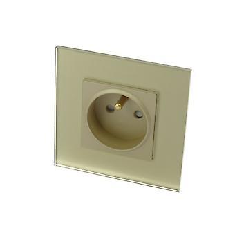 I LumoS Luxury Gold Glass Frame 16A French Plug Single Socket