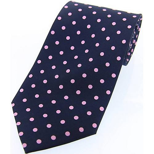 David Van Hagen Polka Dot Twill de soie cravate - marine/rose