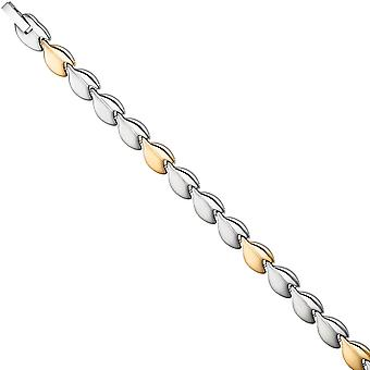 Bracelet stainless steel Matt finish with gold of plated coating of bicolor 20 cm