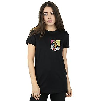 Looney Tunes Women's Lola Bunny Face Faux Pocket Boyfriend Fit T-Shirt