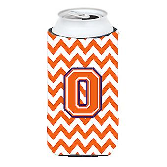 Letter O Chevron Orange and Regalia Tall Boy Beverage Insulator Hugger