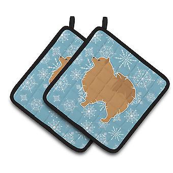 Carolines tesoros BB3542PTHD copo de nieve de invierno Pomerania par de agarraderas