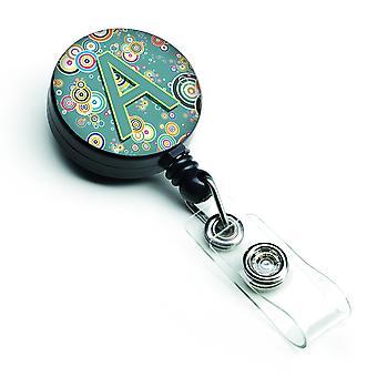Letra un círculo círculo Teal alfabeto inicial insignia Retractable carrete