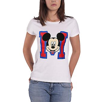 Mickey Mouse T Shirt M Face new Official Womens White Skinny Fit