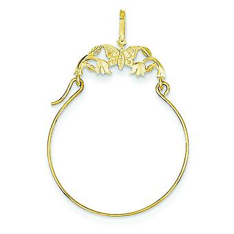 14k Yellow Gold Polished Butterflies Charm Holder - .8 Grams
