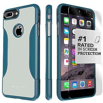 SaharaCase iPhone 8 Plus & 7 Plus lagarto azul caja, clásico paquete Kit de protección con vidrio templado de ZeroDamage®