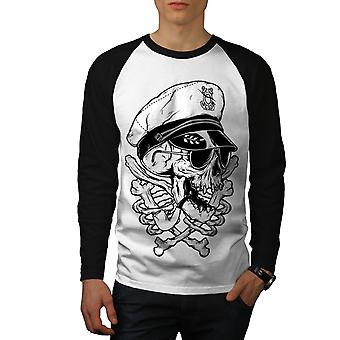 9719c777 Sale Pirate Swag Head Skull Men White (Black Sleeves)Baseball LS T-shirt