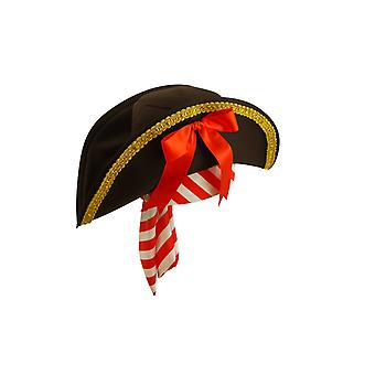 Adult Black & Gold Pirate Hat With Striped Bandana Fancy Dress Accessory