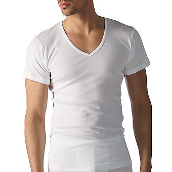 Mey 49007-101 Men's Casual Cotton White Solid Colour Short Sleeve Top