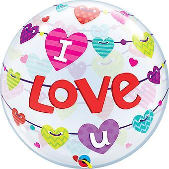 Ballon Bubble Hearts Herzen Banner Hearts  I love U circa 55cm Folienballon