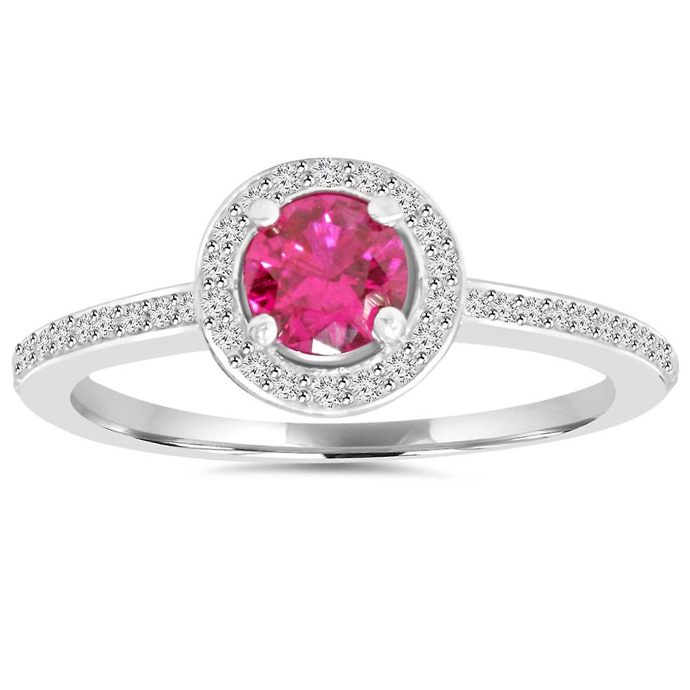 3 4ct Ruby Halo Diamond Pave Enagement Ring 14K blanc or