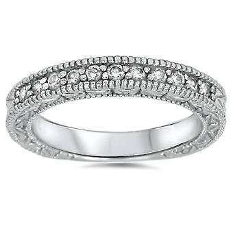 1/3ct Diamond Ring Vintage Antique Wedding Womens Band 14K White Gold