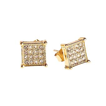 Iced out bling earrings box – SQUARE 8 mm gold