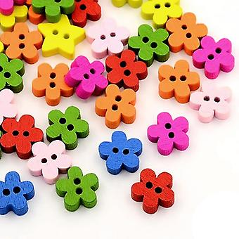 Packet 30 x Mixed Wood 11mm Flower 2-Holed Sew On Buttons HA14340