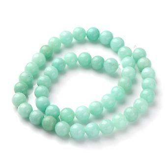 Strand 40+ Turquoise Amazonite 8mm Plain Round Beads Y08010