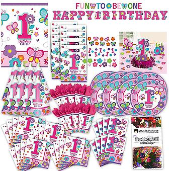 First birthday 1 girl toddler party set XL 94-teilig for 8 guests fun to be one decorative party package