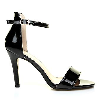 PAM Black Patent Ankle Strap Barely There High Heel Sandals