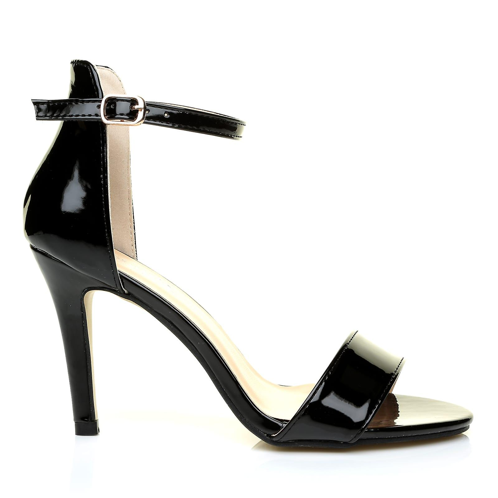 Patent Sandals Heel Strap There Ankle Barely High Black PAM gwZqPx5Oa