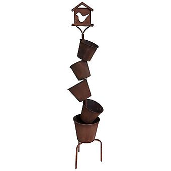 Charles Bentley Tall Rust Effect Planter with 5 Pots - Weatherproof Lightweight for Indoor / Outdoor Use