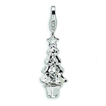 Sterling Silver Enamel Polished Rhodium-plated Fancy Lobster Closure Crystal Christmas Tree With Lobster Clasp Charm - M