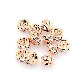 Packet 10 x Rose Gold Brass 2 x 4mm Plain Rondelle Beads HA15420