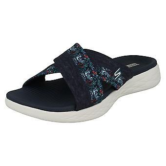 Dames Skechers Slip op Mule sandalen Monarch 15306 - Marine textiel - UK Size 3 - EU Size 36 - US maat 6
