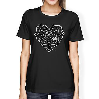 Heart Spider Web Tshirt Womens Black Graphic Tee Cotton Crewneck