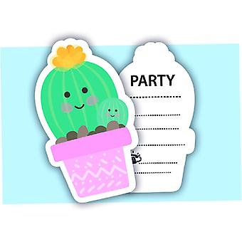 Cactus party invitation cards 6 piece children birthday theme party