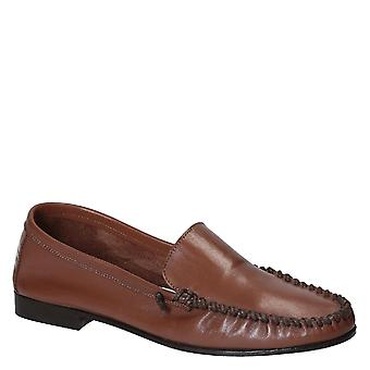 Women's moccasins in tan calf leather made in Italy