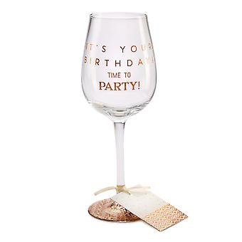Here's To You Megan Claire Time to Party Wine Glass