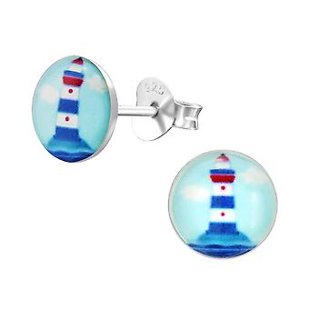 Lighthouse - 925 Sterling Silver Colourful Ear Studs - W31600x
