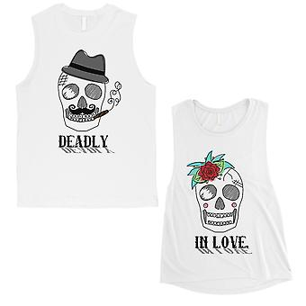 Deadly In Love Couples Muscle Tank Tops White