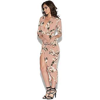 Floral afdrukken Kim Plunge jurk