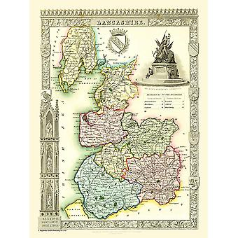 Old Map of Lancashire 1836 by Thomas Moule 1000 Piece Jigsaw Puzzle (jhg)
