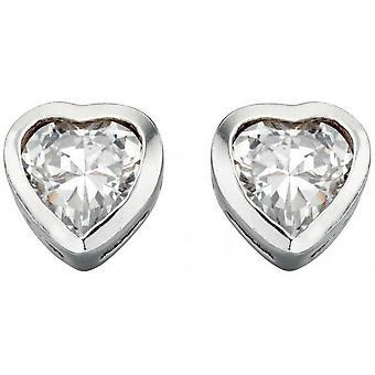 Beginnings Cubic Zirconia Heart Stud Earrings - Silver/Clear