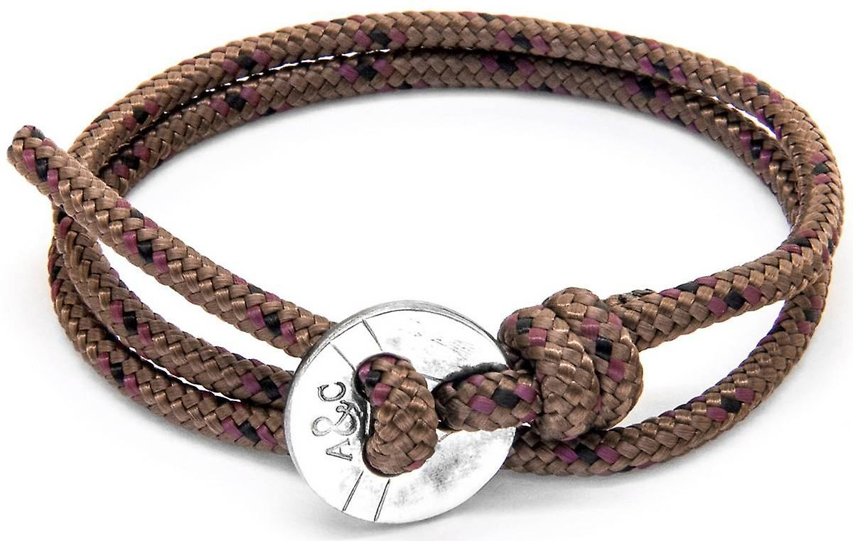 Anchor and Crew Lerwick Silver and Rope Bracelet - Brown