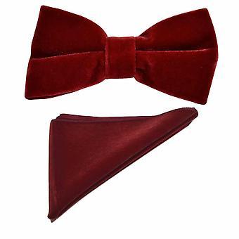 Dark Red Velvet Bow Tie & Pocket Square Set