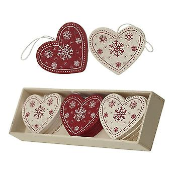 Wooden Red and Cream Hearts - Box of 12 Christmas Tree Decorations