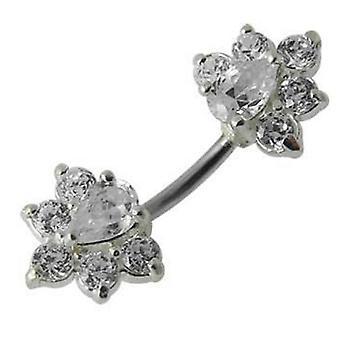Belly Bar Navel Piercing 925 Sterling Silver, smycken, vita blommor
