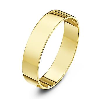 Star anneaux de mariage 18 carats jaune or léger plat 4mm bague de mariage