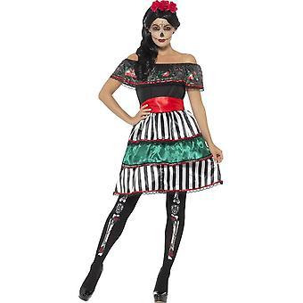 Smiffy's Day Of The Dead Senorita Doll Costume, With Dress, Belt & Headband