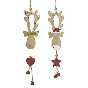 Heaven Sends Pair Of Cute Reindeer Decorations