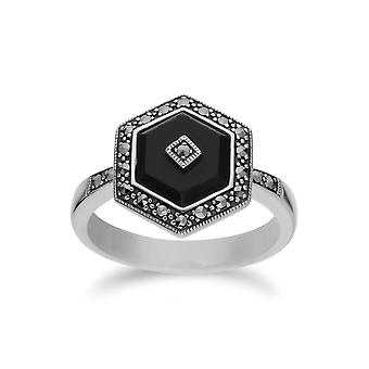 Gemondo Sterling Silver Black Onyx and Marcasite Hexagon Ring